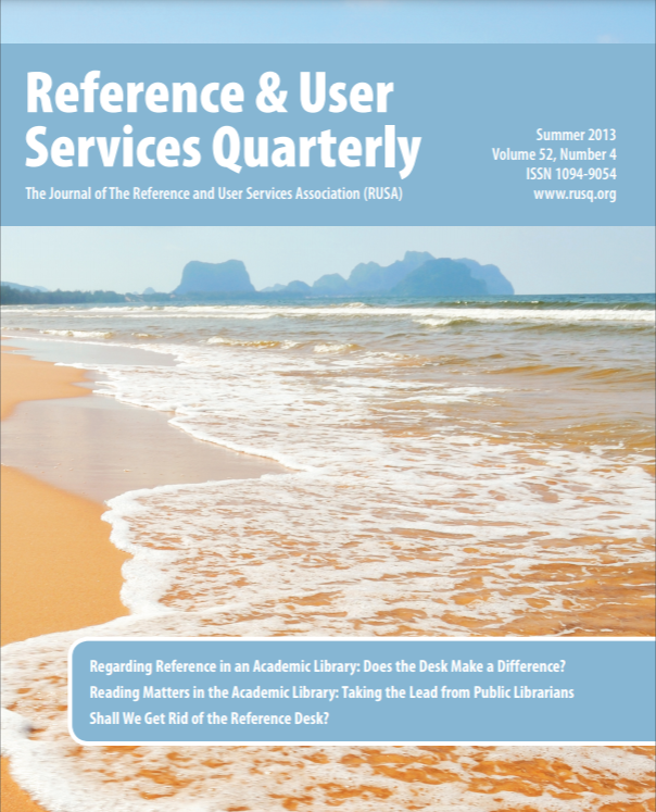 Cover of Reference and User Service Quarterly, Summer 2013