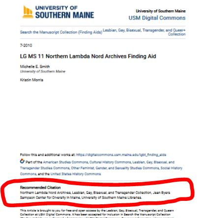 Image showing the second to last block of text on the bottom of a finding Aid where the Recomended Citation is listed.