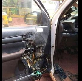 Picture of burned car door supposedly caused by hand sanitizer.