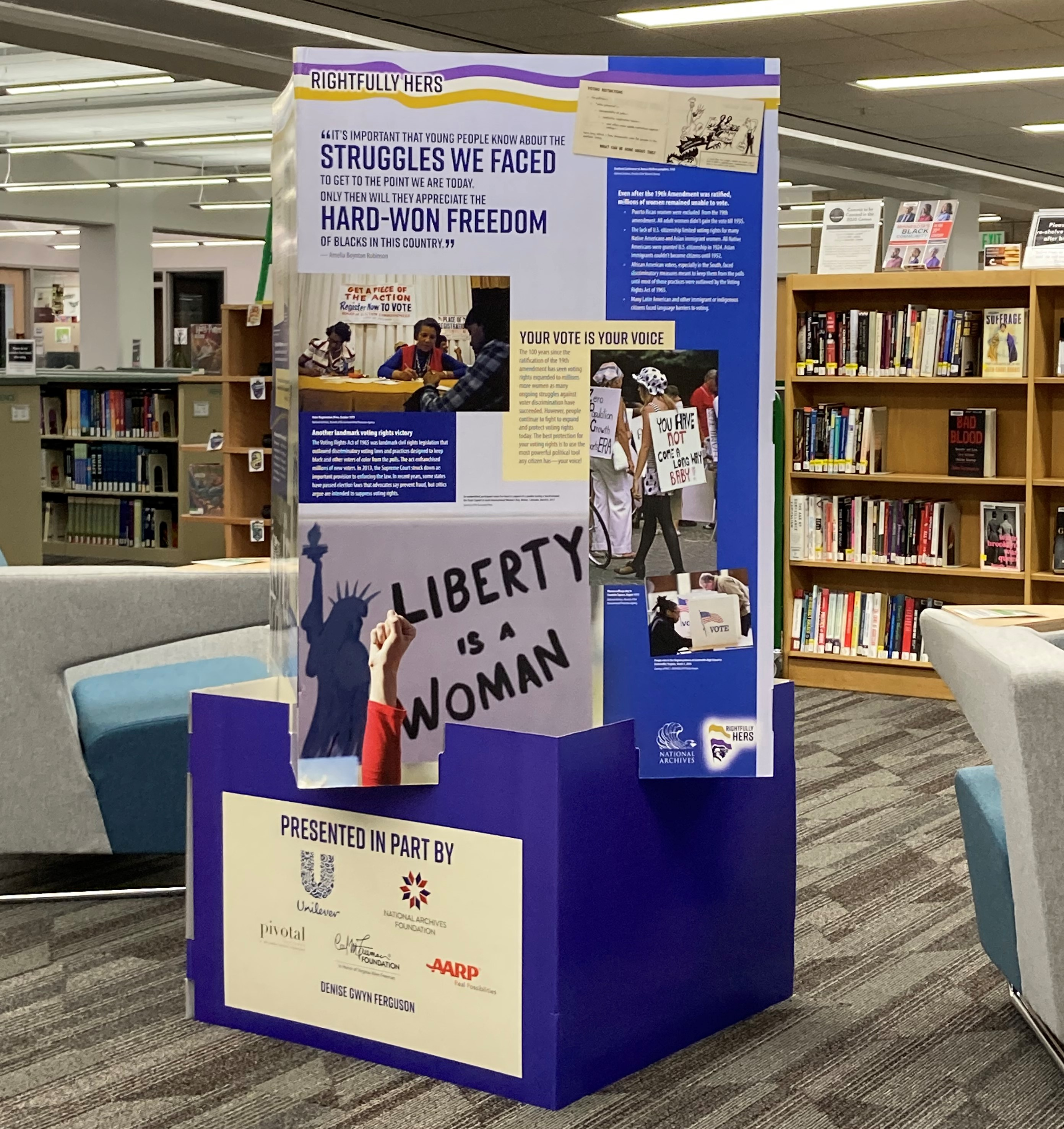 Picture of Rightfully Hers exhibit, on display now in the A.C. Clark Library
