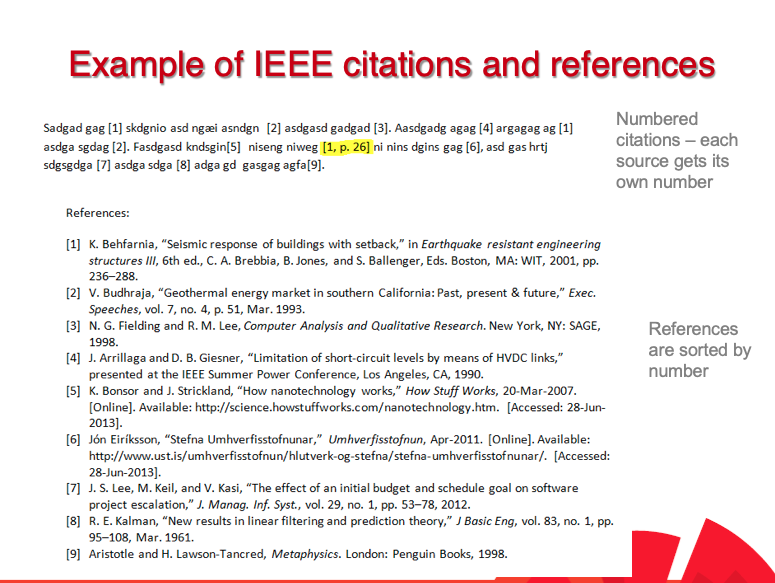 Example of IEEE citations and references