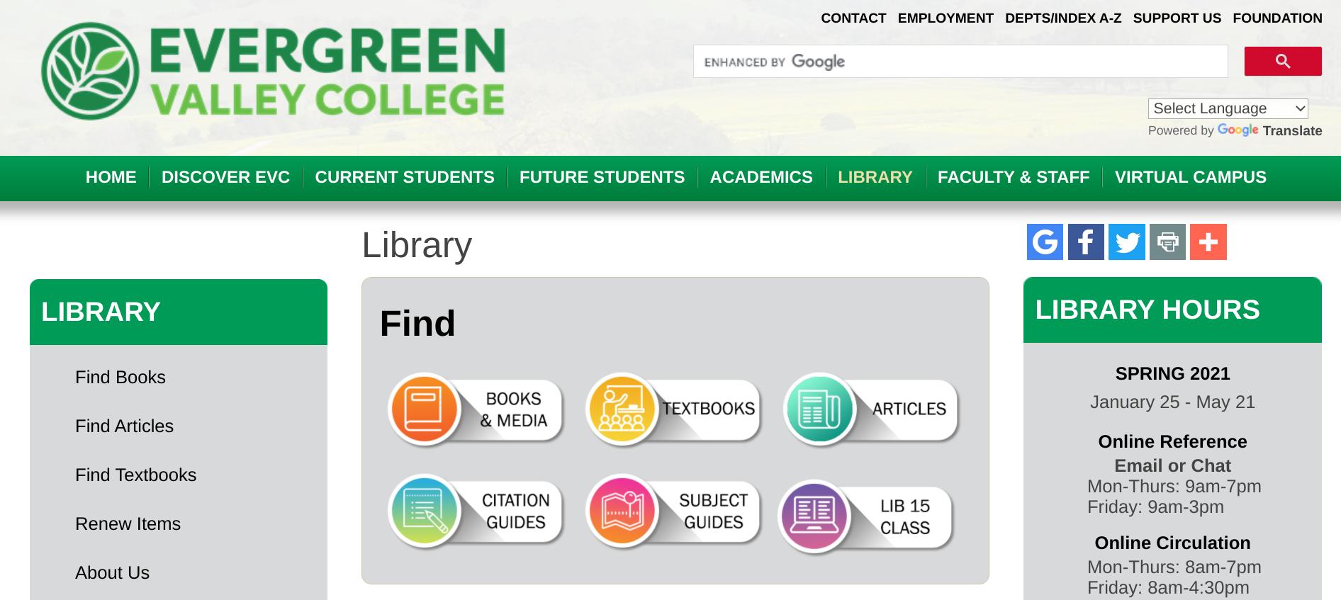 Evergreen Valley College Website