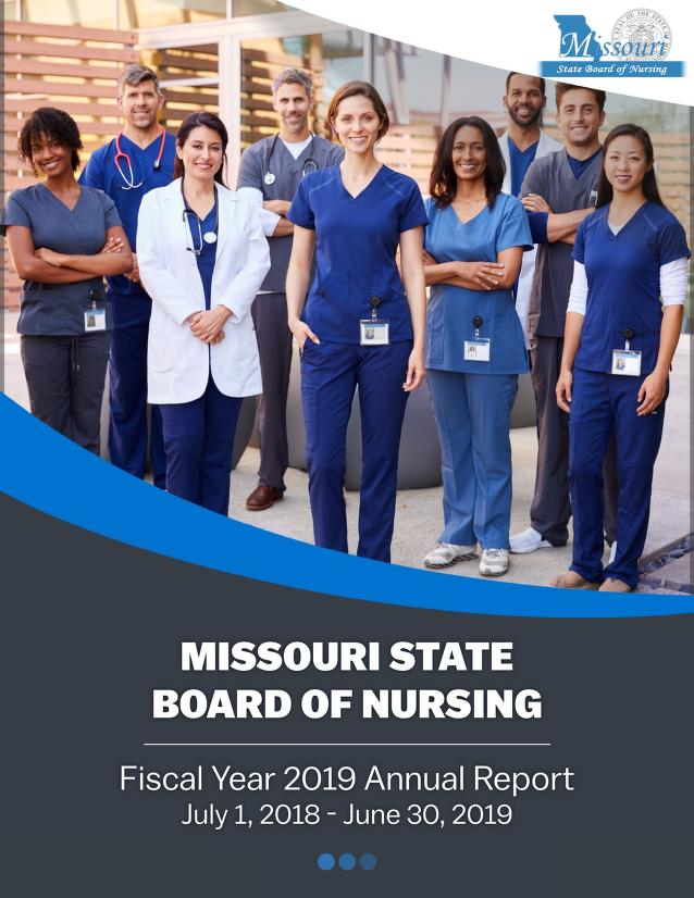 Cover image for the Missouri State Board of Nursing Annual Report
