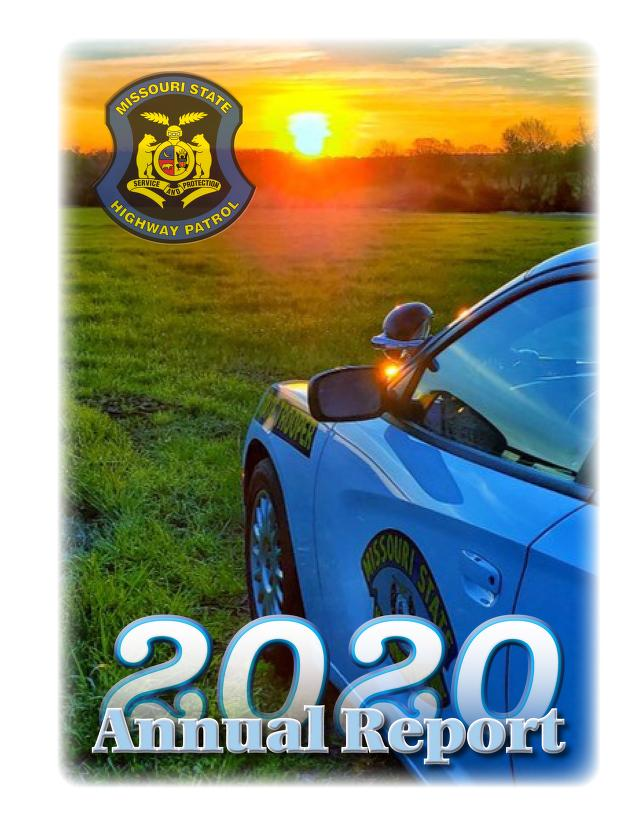 Image of Missouri State Trooper Car facing into a sunset