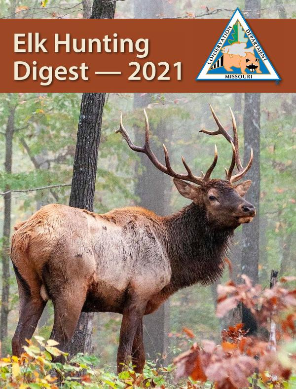 Elk standing in forest clearing, Conservation Department logo