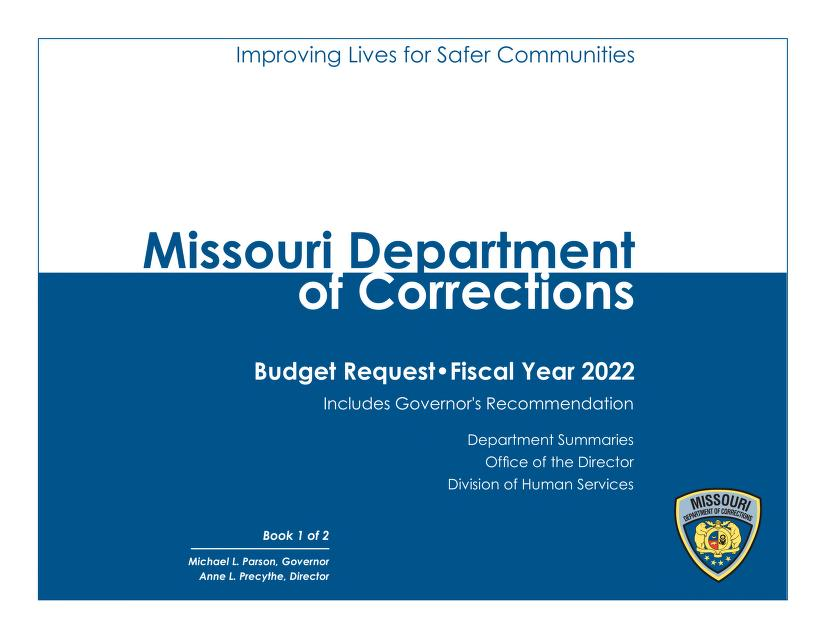 Title Page of Fiscal Year 2022 Budget Request