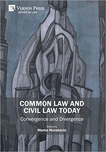 Cover image of Common Law and Civil Law Today, with abstract art of a tall gray building