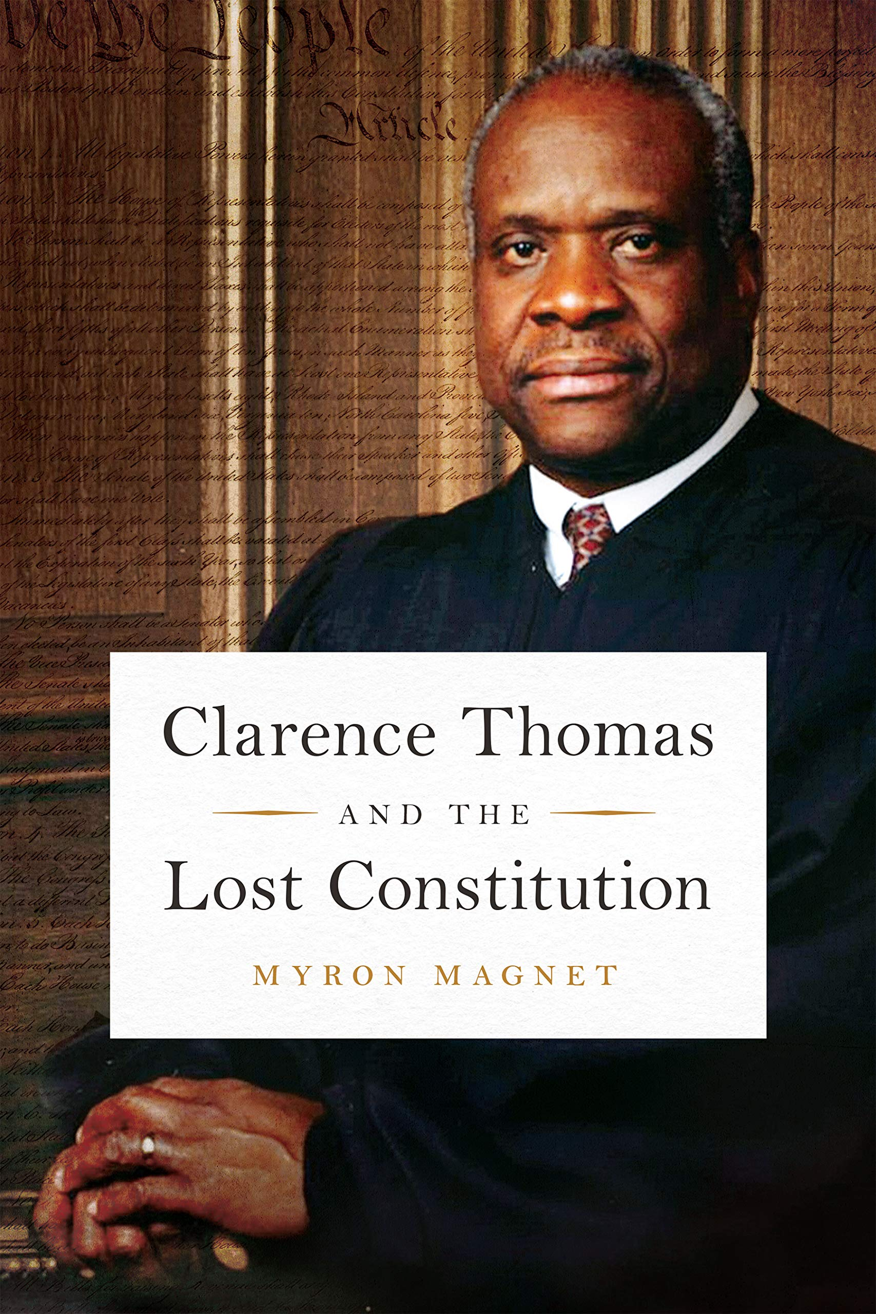 Image of Supreme Court Justice Clarence Thomas, with the text of the Constitution in the background
