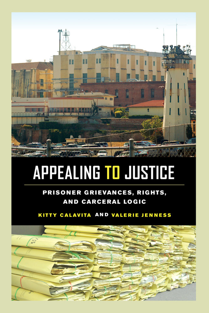 Cover image of Appealing to Justice; Image of a California prison and tall piles of documents