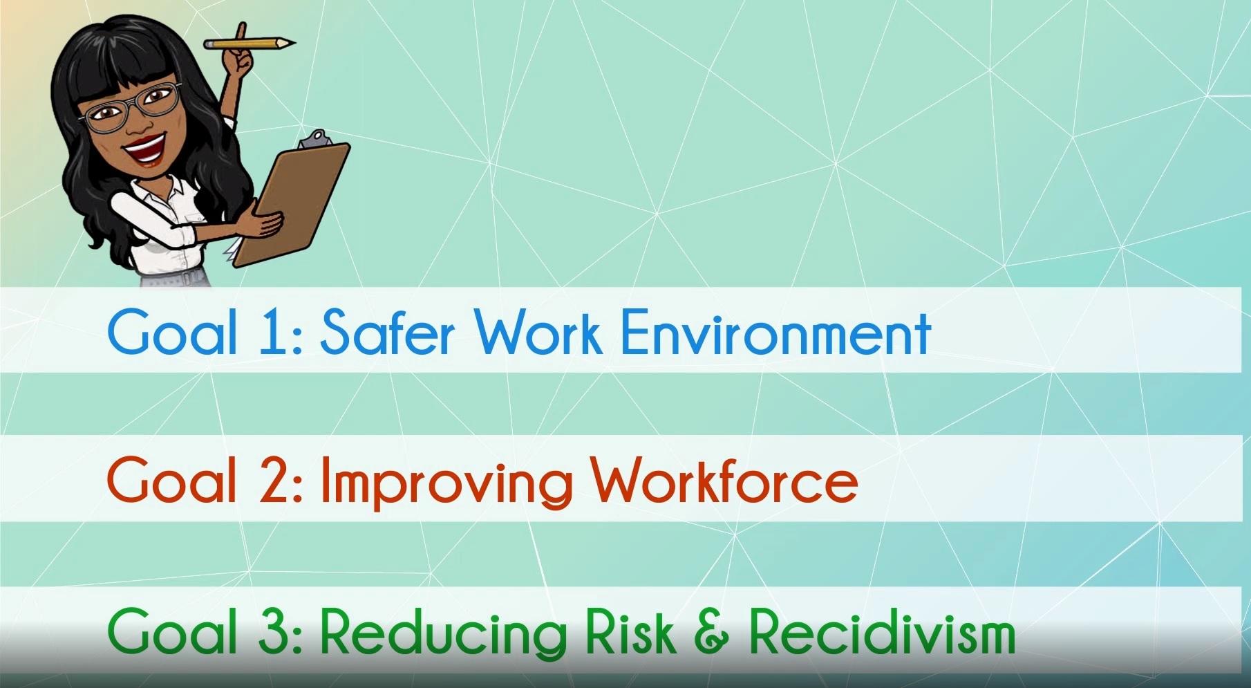 Goal 1: Safer Work Environment, Goal 2: Improving Workforce, Goal 3: Reducing Risk & Recidivism