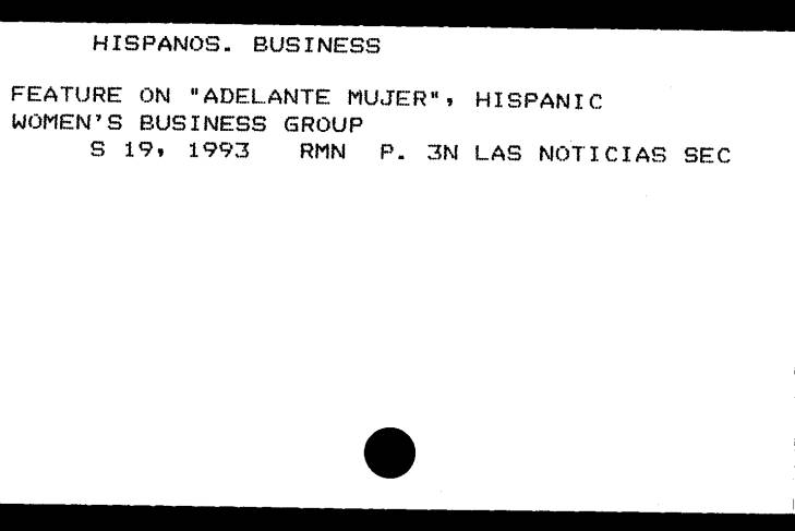 Western History Subject Index card for Adelante Mujer.