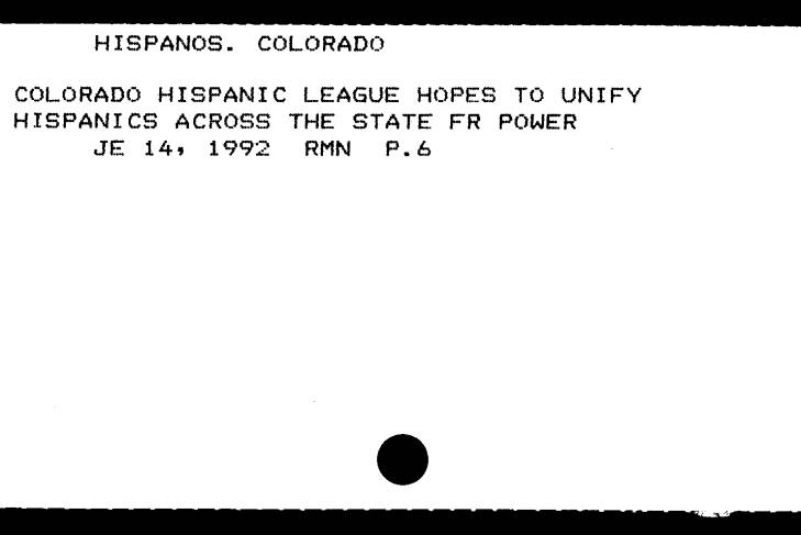 Library subject card entry for the Hispanic League of Colorado.