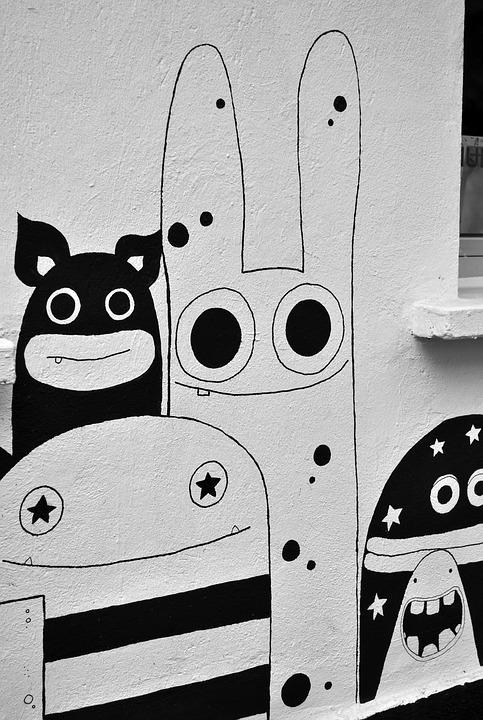 Street art image of monsters.