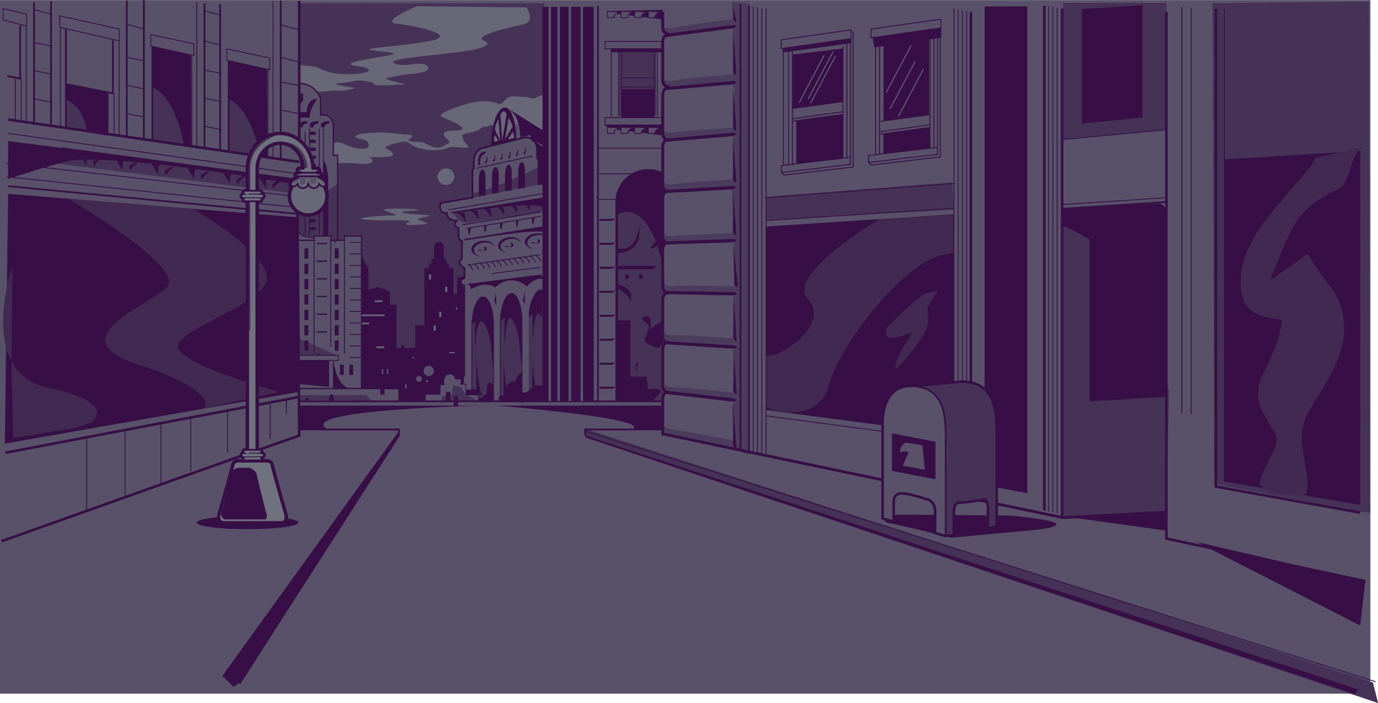 Drawn streetscape at dusk in blues and purples.