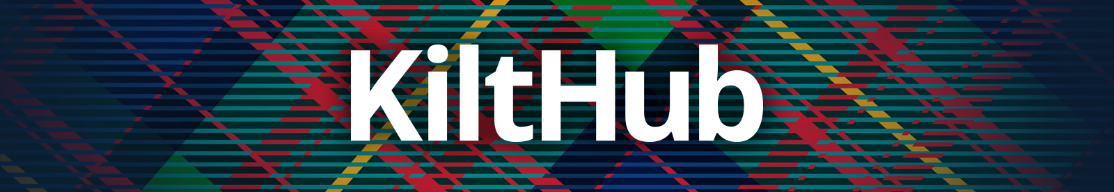 Kilthub logo on tartan background