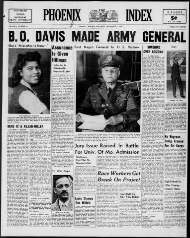 """Cover of The Phoenix Index newspaper. Headline reads """"B.O. Davis Made Army General""""."""
