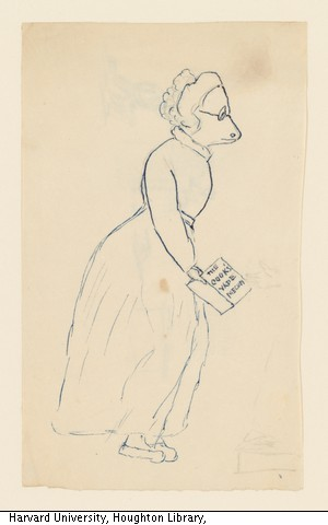 blue line drawing of a woman done on cream paper