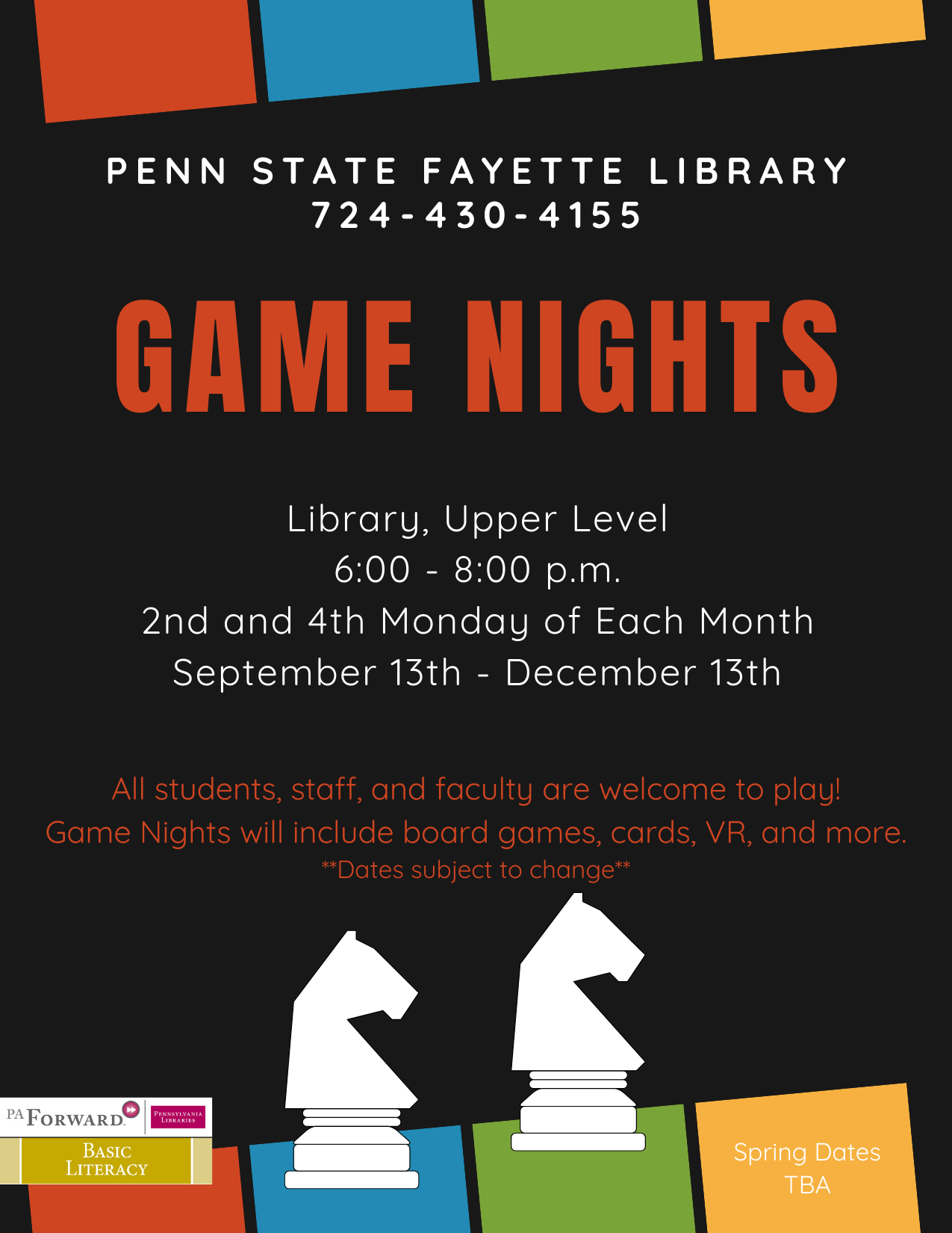 Flyer for the Library Game Night events that includes multi-colored squares and gambe board pieces