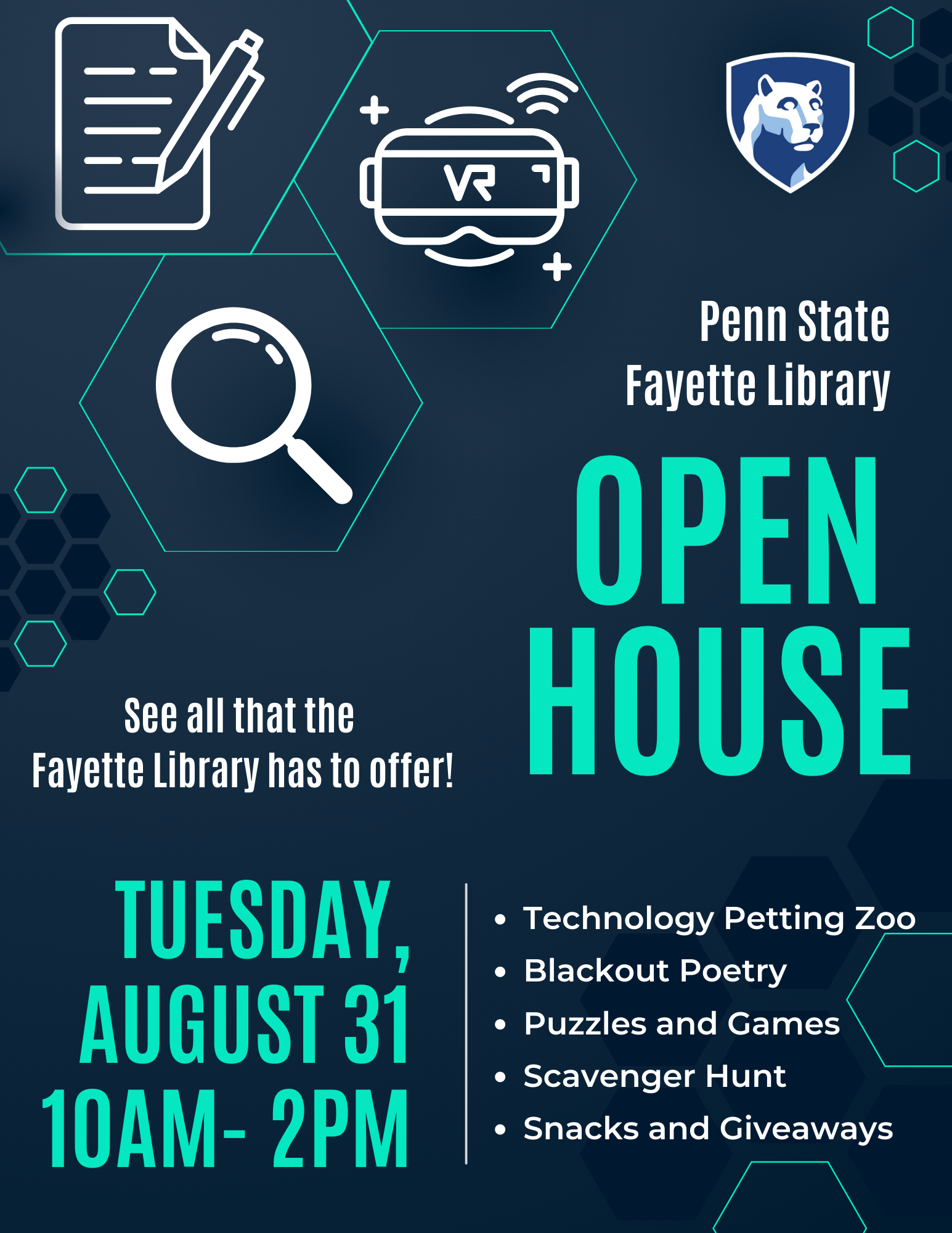 Flyer for the Fall 2021 Library Open House Event on Tuesday, August 31 from 10:00 am to 2:00 pm