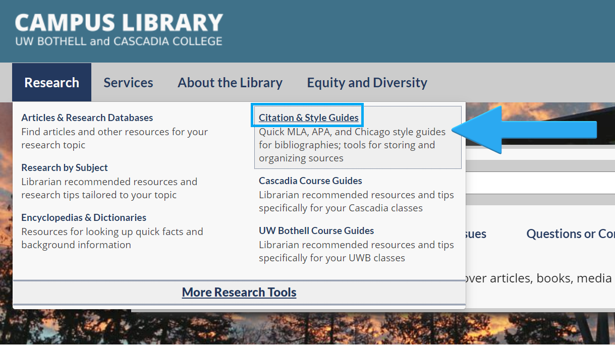 Image of Resources list with text Citation & Style Guides highlighted with an arrow and a box around text