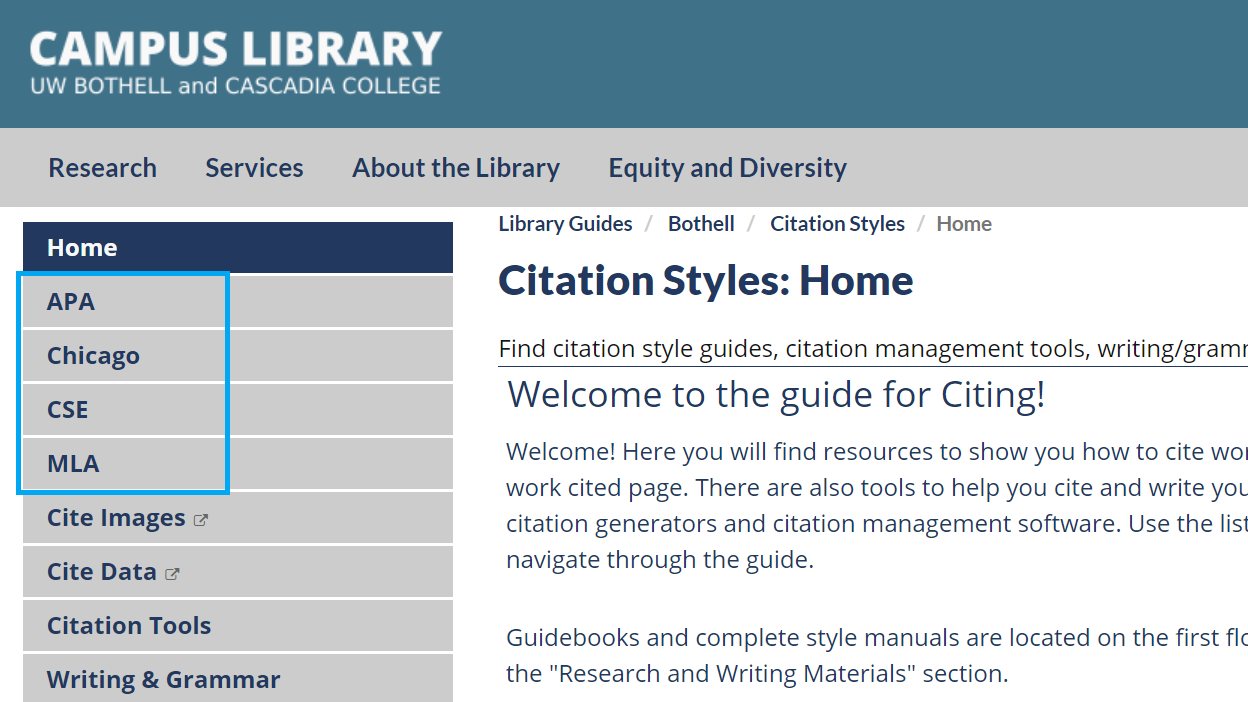 image of navigation bar with citation styles