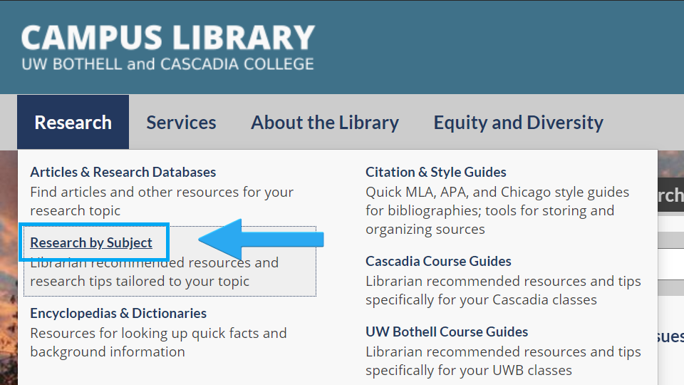 Image of Resources list with text Research by Subject highlighted with an arrow and a box around text