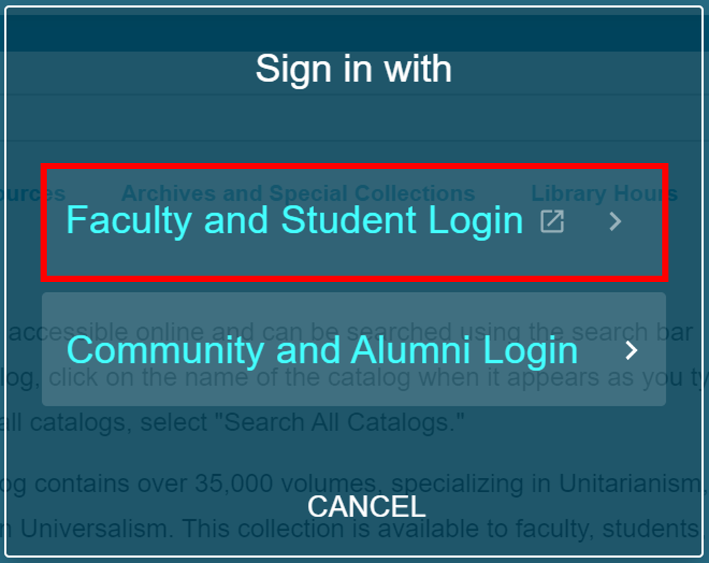 """Sign in with"" pop-up with ""Faculty and Student Login"" selected"