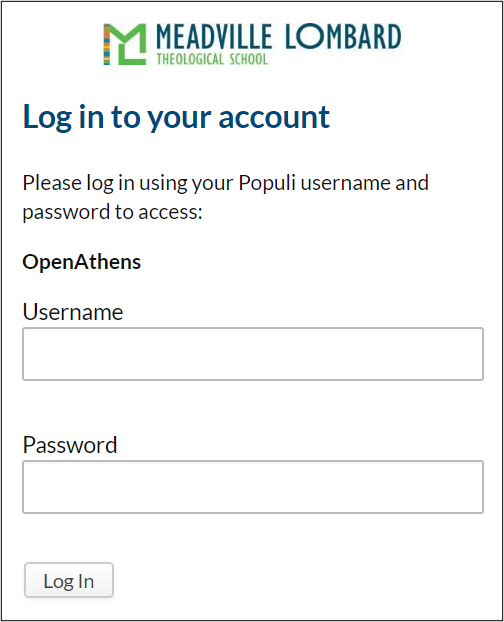 Log in popup screen prompting Populi username and password