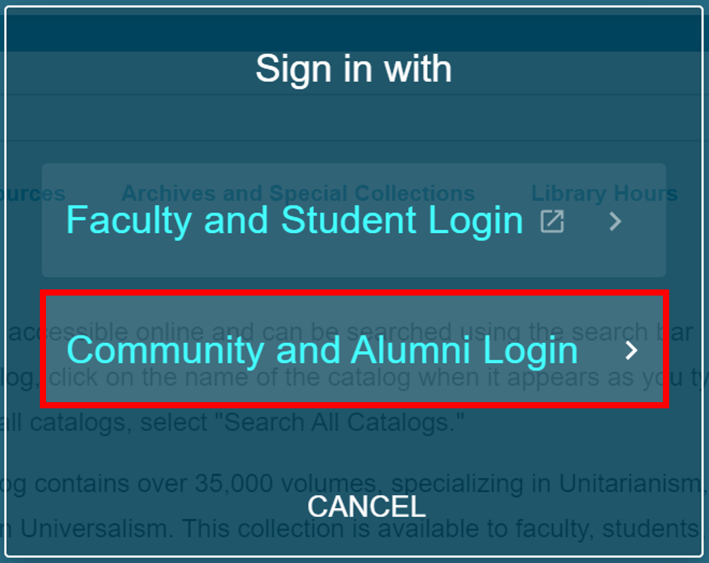 "undefined""Sign in with"" pop-up with ""Community and Alumni Login"" selected"
