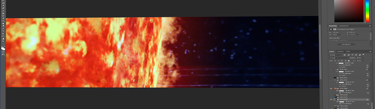 Sun visualization being editing in Adobe Photoshop