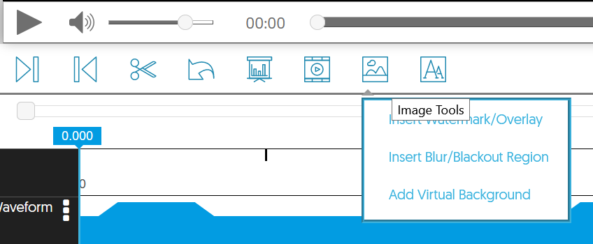 Image toold menu with apply virtual background