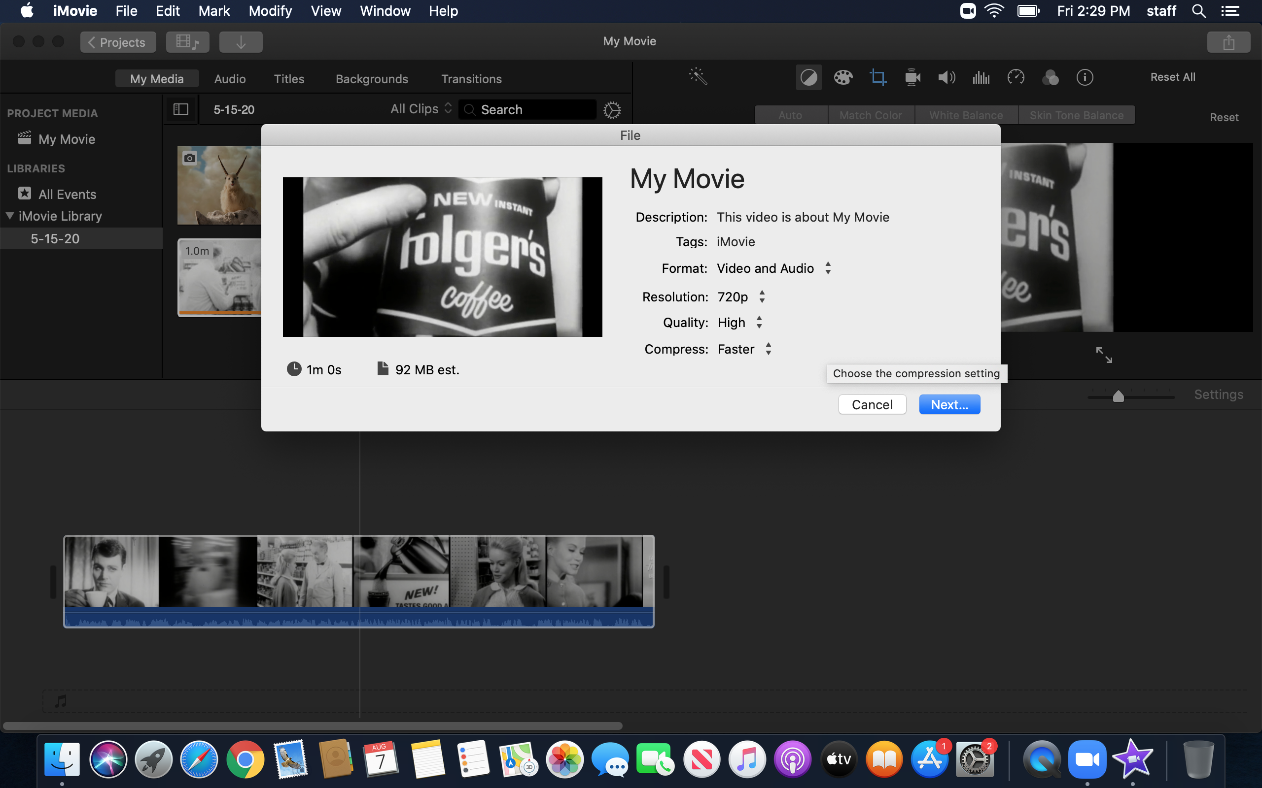 iMovie Save screen
