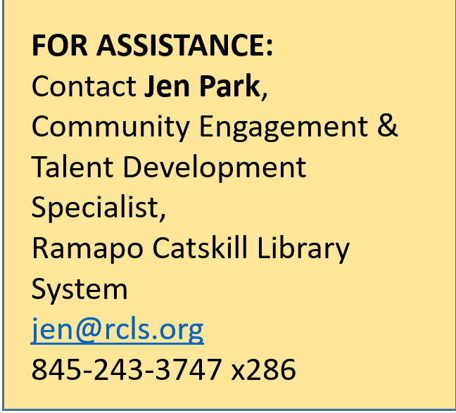 For technical assistance, contact Jen Park at jen@rcls.org