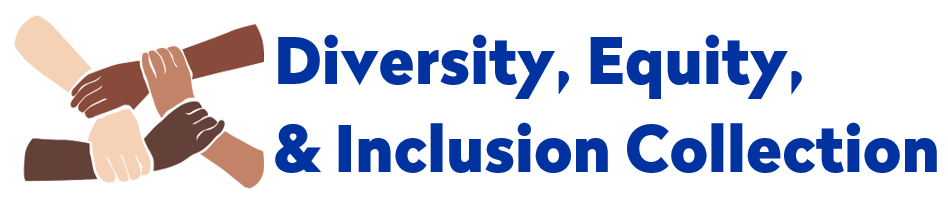 """Four arms with varying skin tones linked together beside text that reads """"diversity, equity, & inclusion collection"""""""