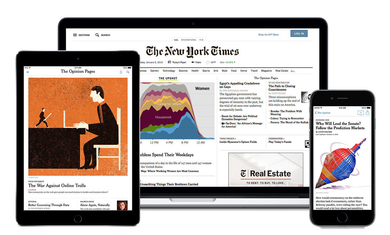 Graphic image of a laptop, tablet, and a cellphone, all open to a New York Times article.