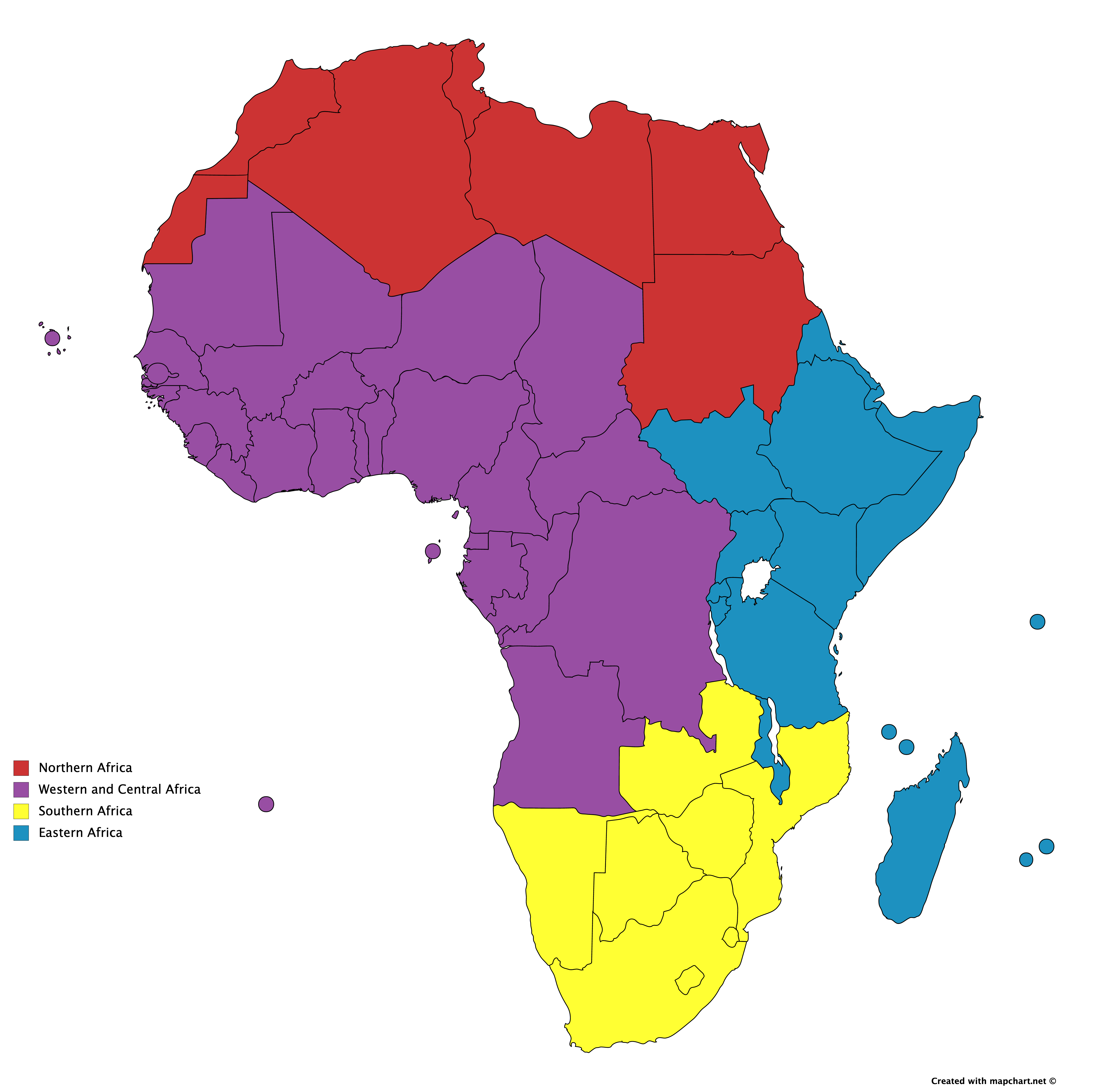 Map of Africa divided into Western and Central Africa, Eastern Africa, Northern Africa, and Southern Africa