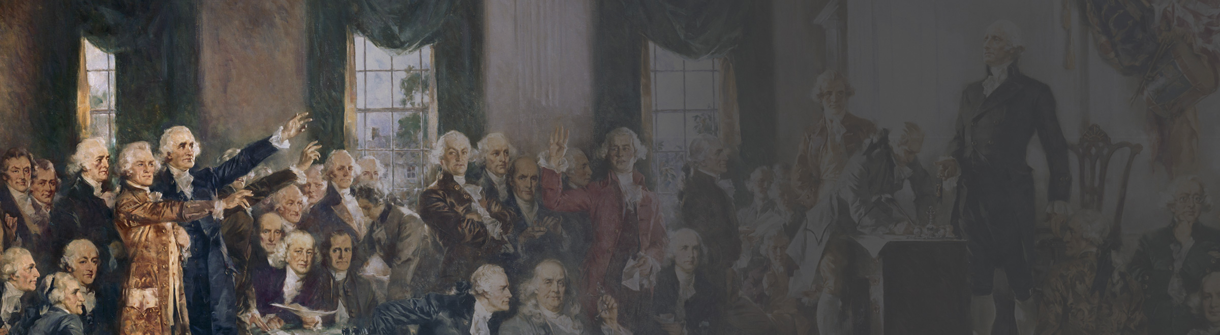 Painting of founding fathers drafting constitution