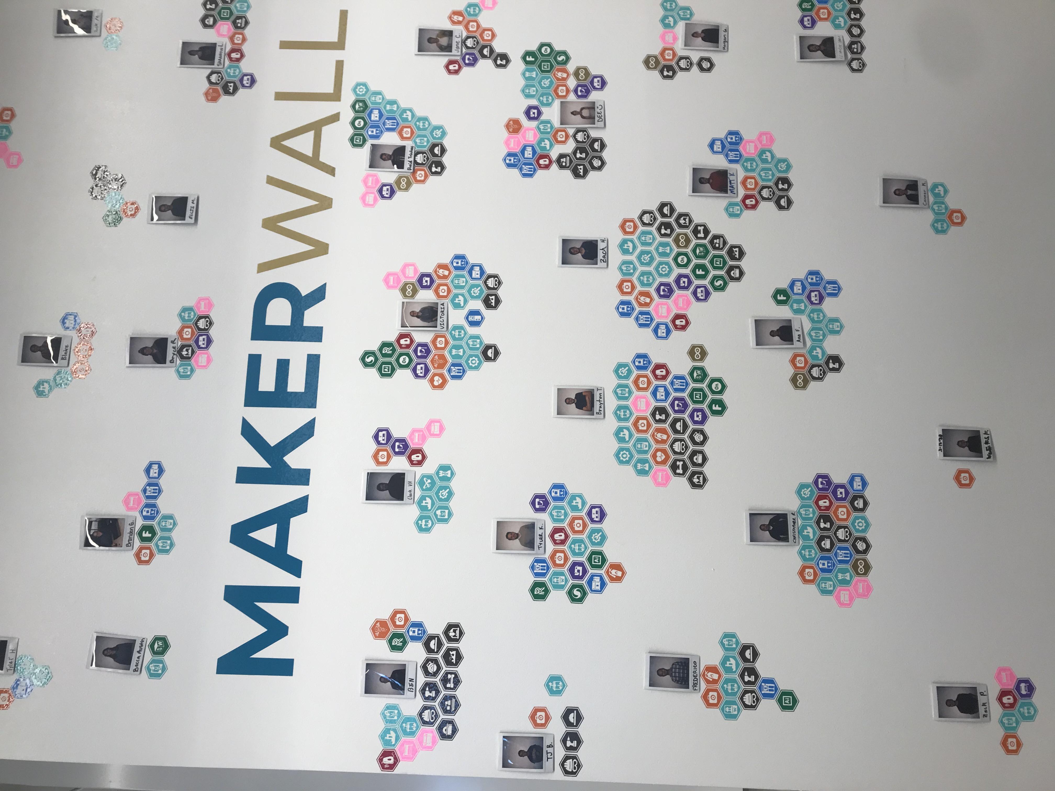 Maker Badge wall, Laramie Innovation Wyrkshop
