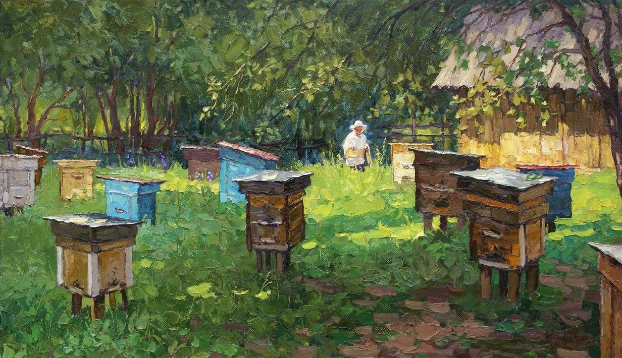 Painting of apiary in sun and tall grass with beekeeper in background.