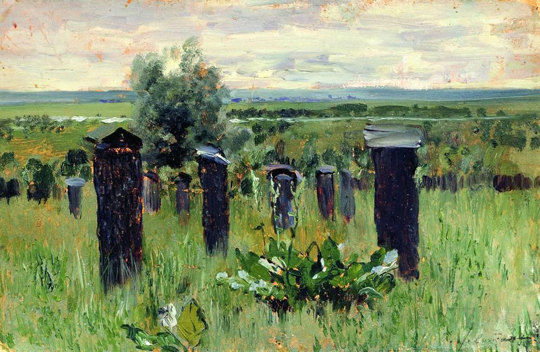 Landscape with beehives