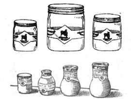 Seven glass honey containers.