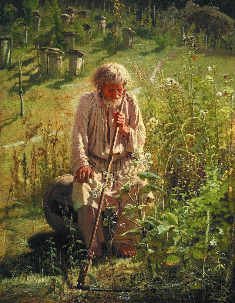 Oil painting of beekeeper in meadow