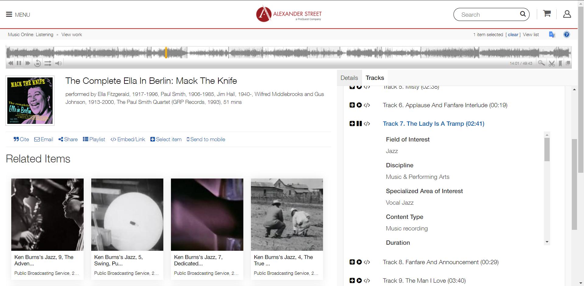 Example of Audio Item