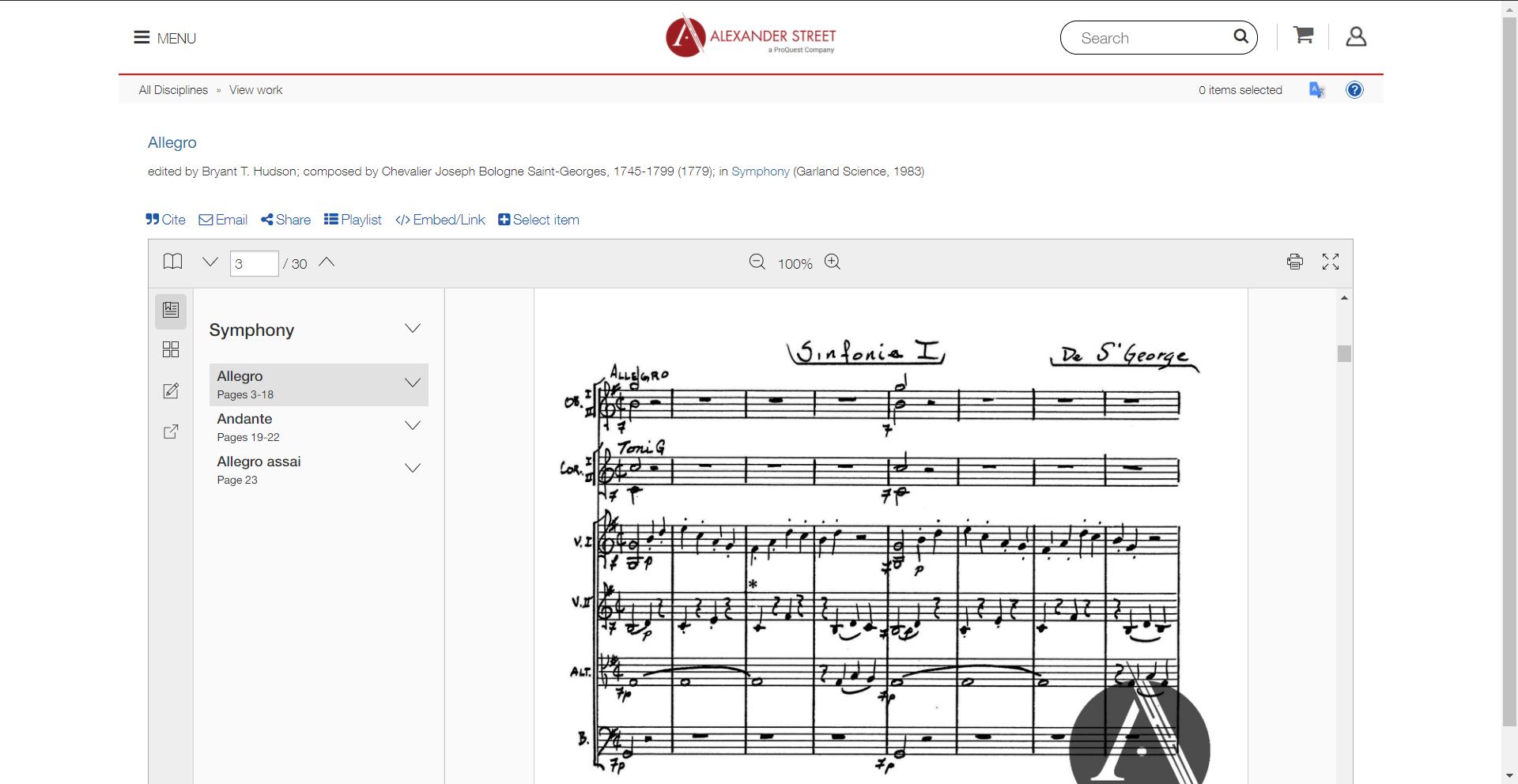 Example of Music Score