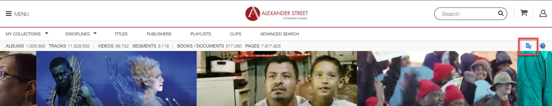 Box around Google Translate tool on Alexander Street Multimedia