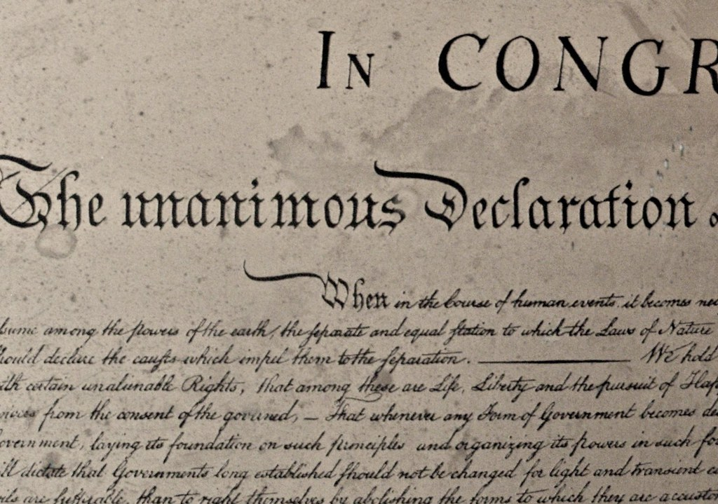 Declaration of Independence, close up