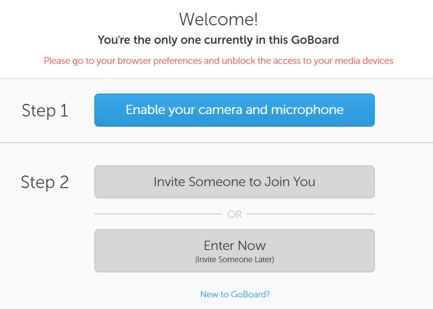 Image of options to enable camera/microphone, invite someone to join you, or start board