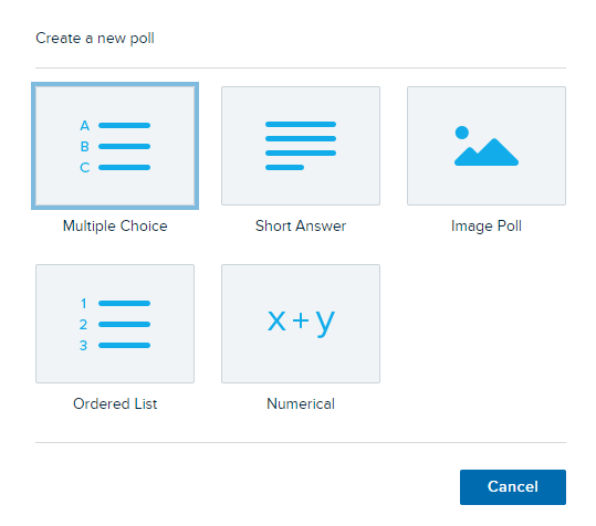 icons to indicate types of polls, reading left to right: (line 1)multiple choice, short answer, image poll, (line 2) ordered list, numerical