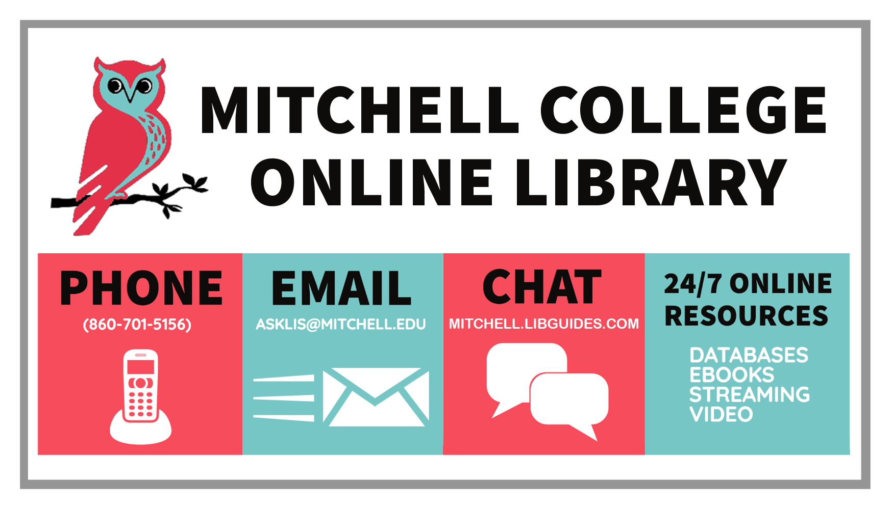 Library contacts: email us at asklis@mitchell.edu, call us at 860-701-5156, or chat with us on the library's website