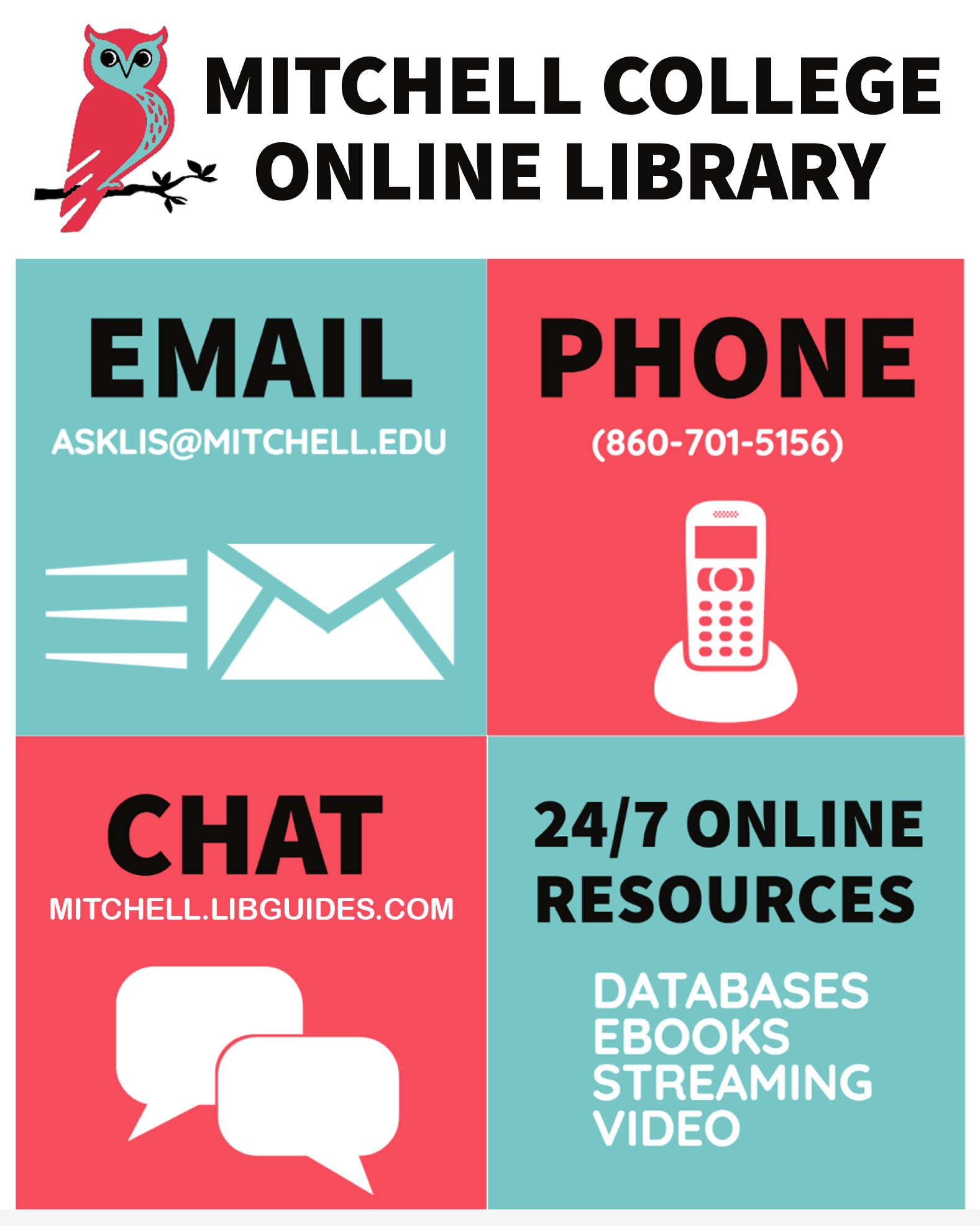 Library contacts: email us at asklis@mitchell.edu, call us at 860-701-5156, or chat with us on the library's website.  Our online resources are available 24/7 from on- or off-campus.